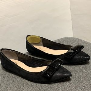 Delman Black Leather Bow Pointed Toe Flat 8.5